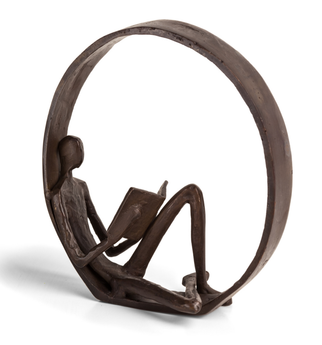 Danya B. encircled reader statue