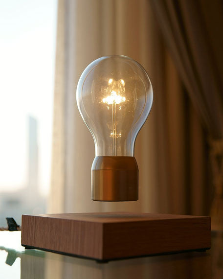 Flyte Floating Light Bulbs Buckminster Dark Wood and Copper