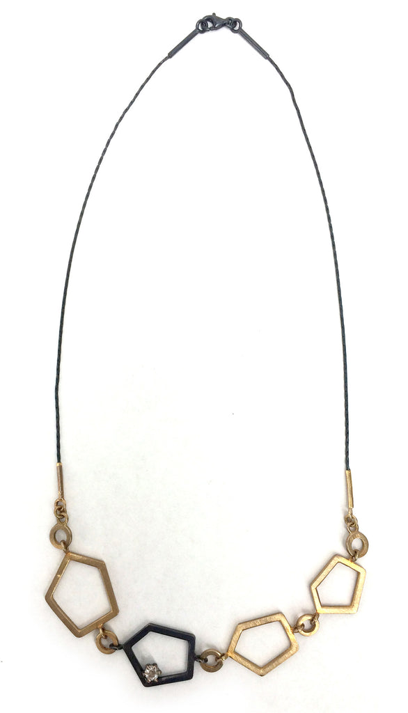 Gold and Silver Geometric Necklace