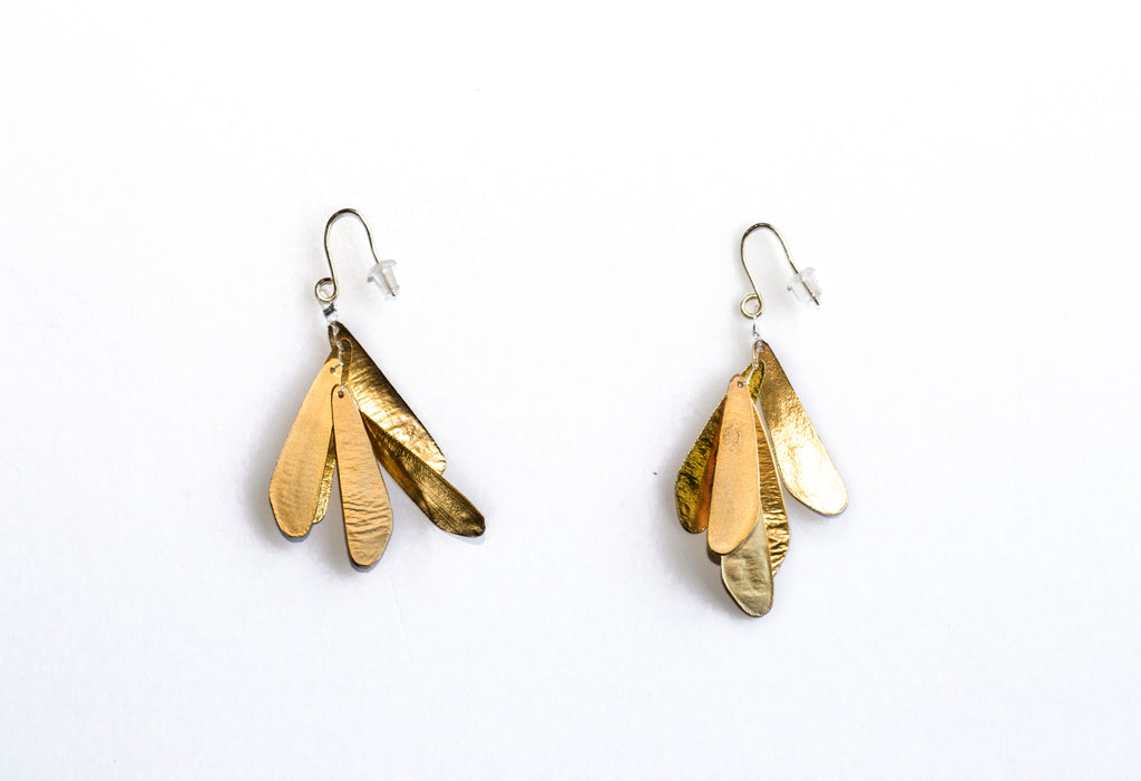 Diana Schimmel Gold Vermeil Leaf Earrings