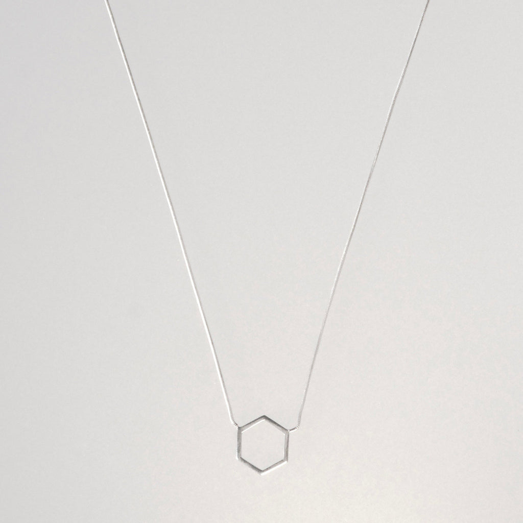 Azenya Burdett Minimal Hexagon Necklace