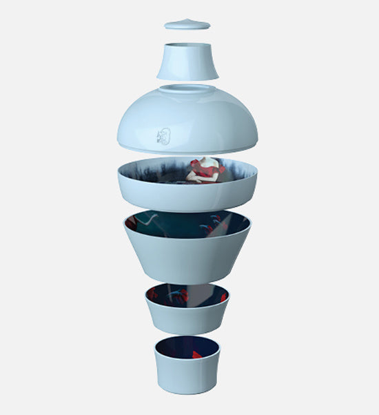 iBride Ming Stackable Dish Set in Bleu Abysses