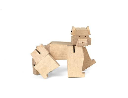Square Bear wooden puzzle sculpture