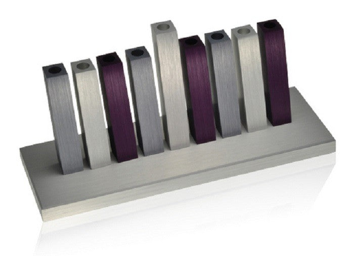 Purple and Silver Kinetic Menorah