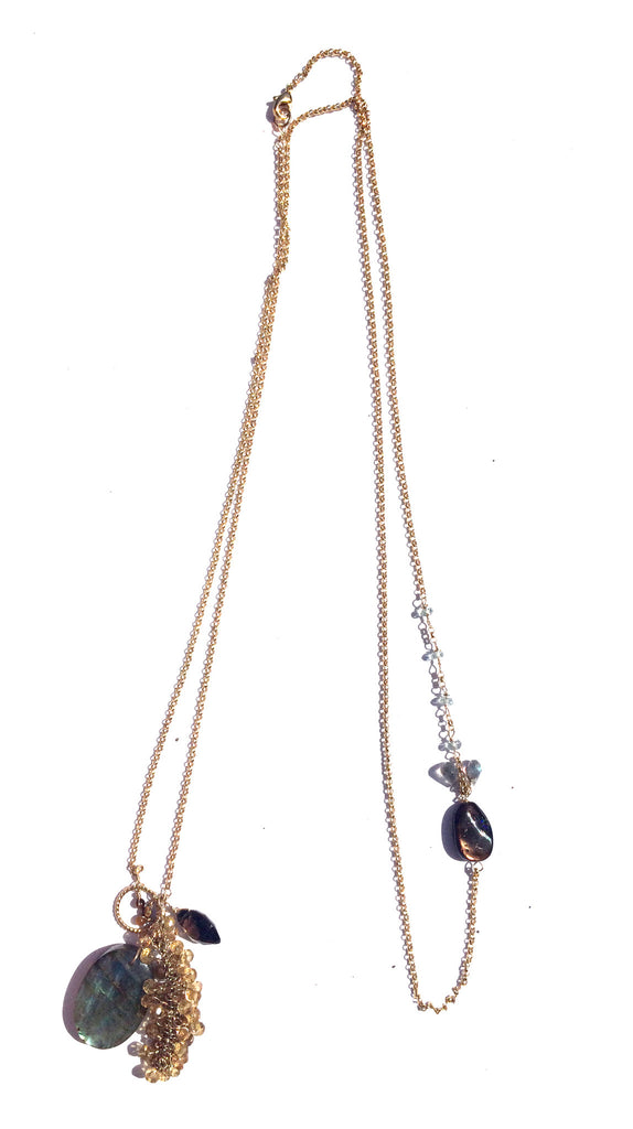 Labradorite Stone Long Necklace with Gold fringe