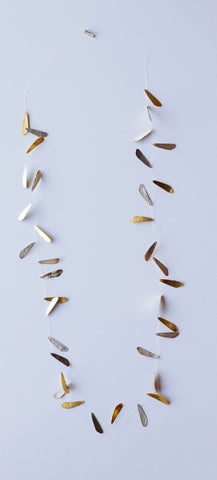 Sterling Silver and Gold Vermeil, Leaf Necklace