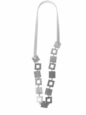 Petra Meiren Long Silver Square and Rubber Necklace