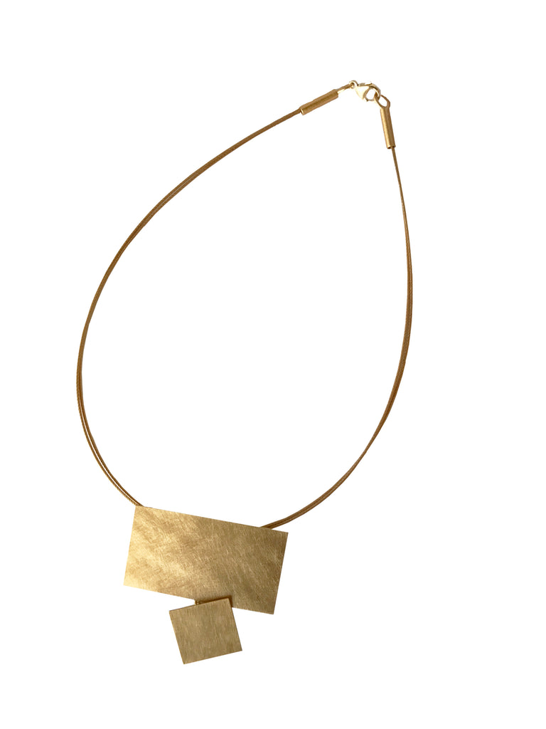 Steel and Square Gold Necklace by Petra Meiren