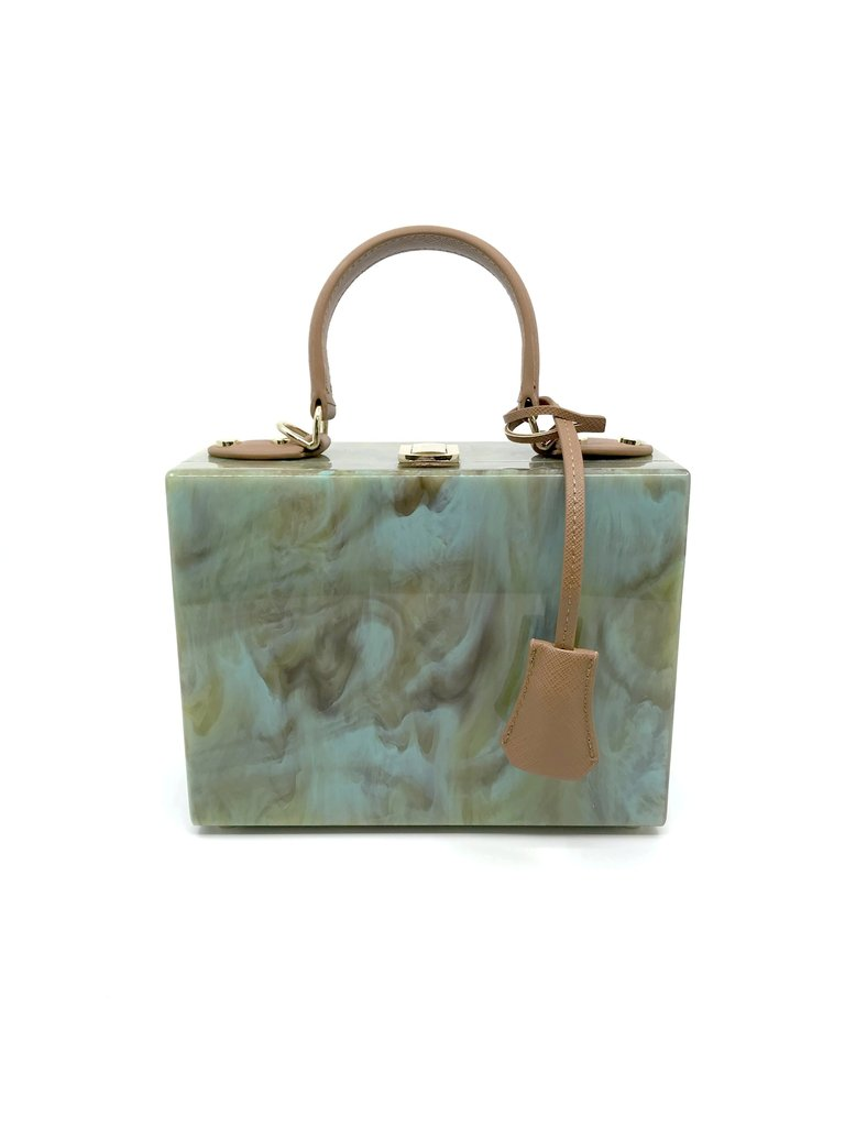 Sea Lily Marble Green / Gold Box Bag With Handle