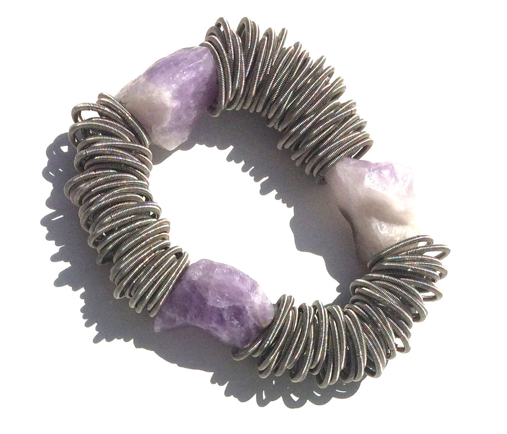 Sea Lily Silver Spring Ring Bracelet with Raw Amethyst