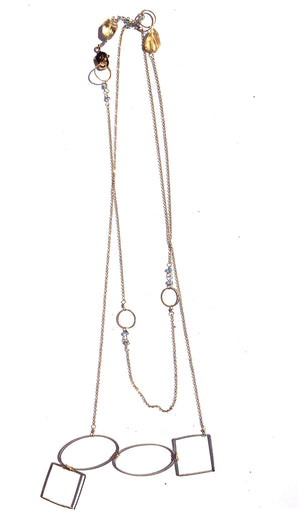 Geometric Long Necklace with Stones