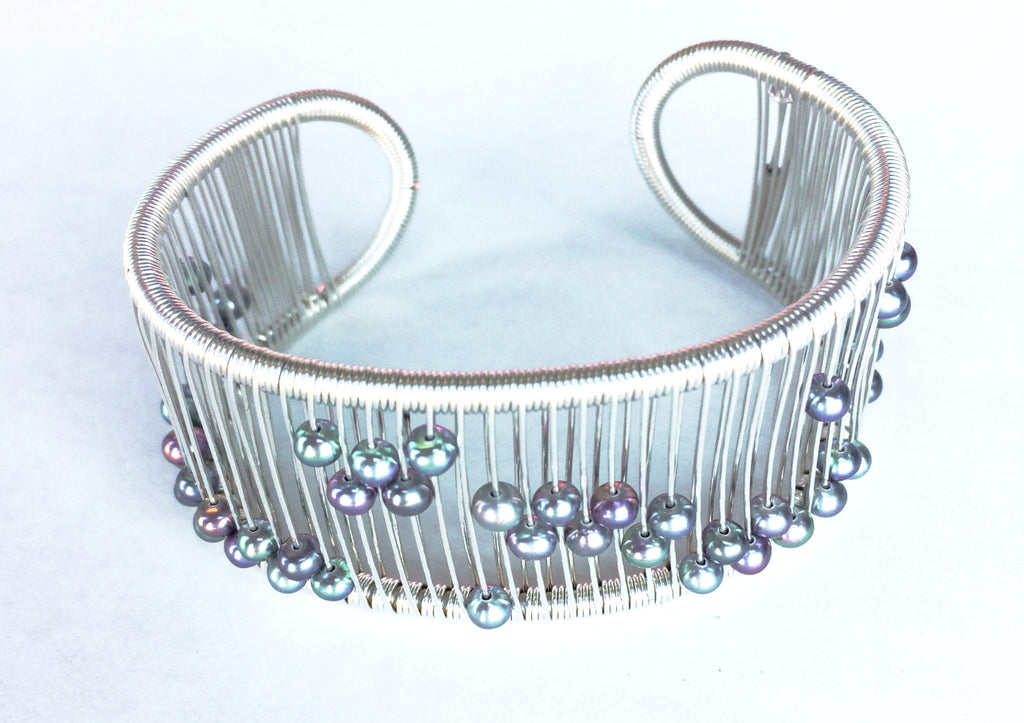 Tana Acton Kinetic Silver Cuff with Iridescent Pearls (114)