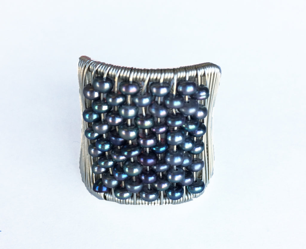 Silver Ring with Iridescent Pearls (117)