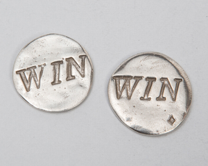 "Tamara Hensick Pewter Coin: ""Win"""