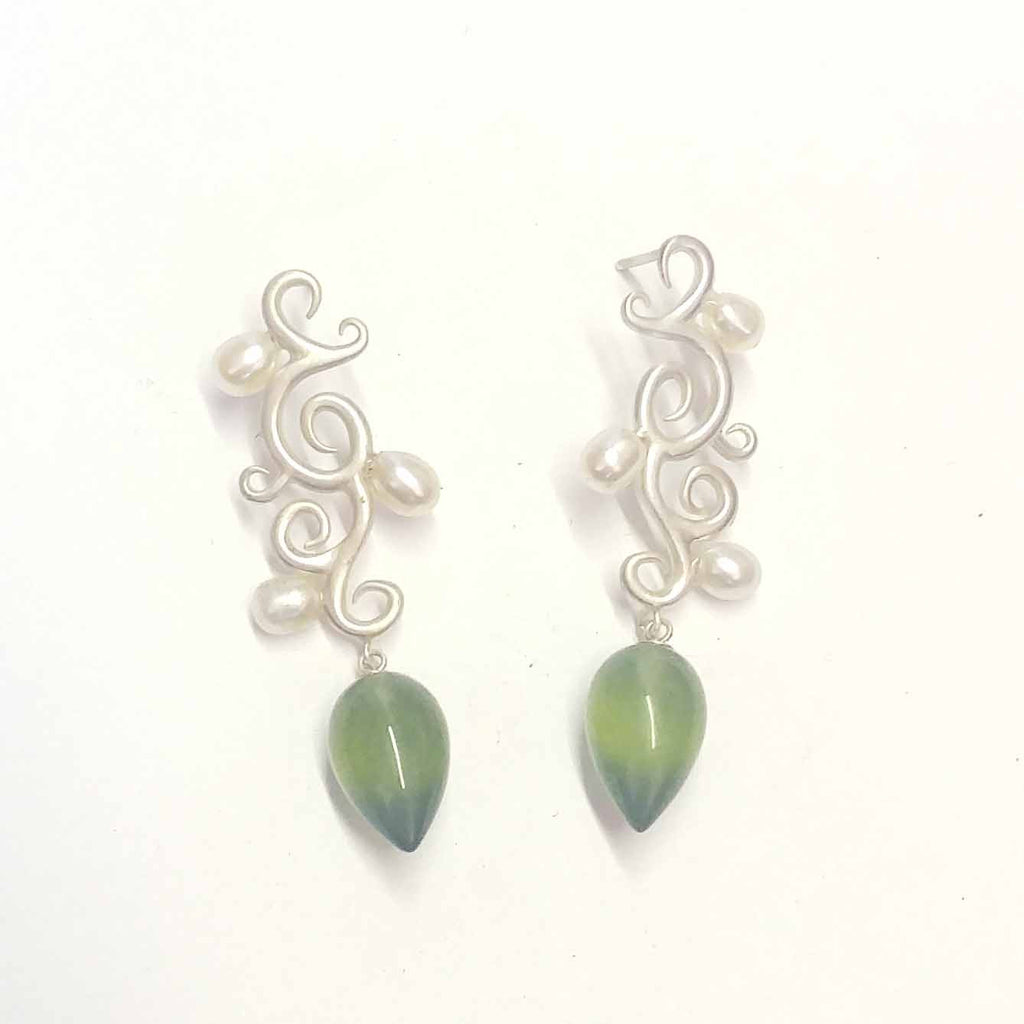 Flourish Earrings with Pearls and Serpentine