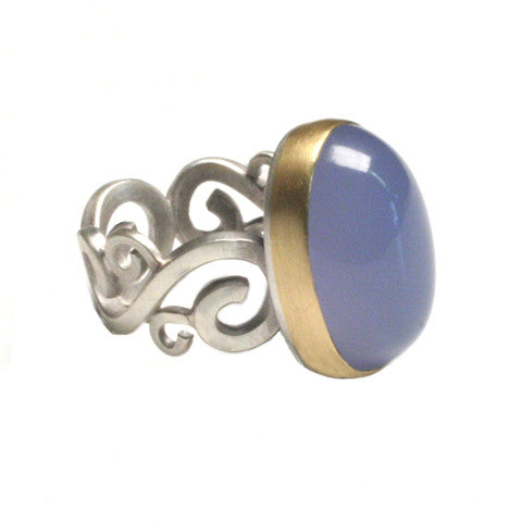 Chalcedony Block Scroll Ring