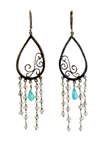 Cascade of Dew, Aquamarine Earrings (In Stock)