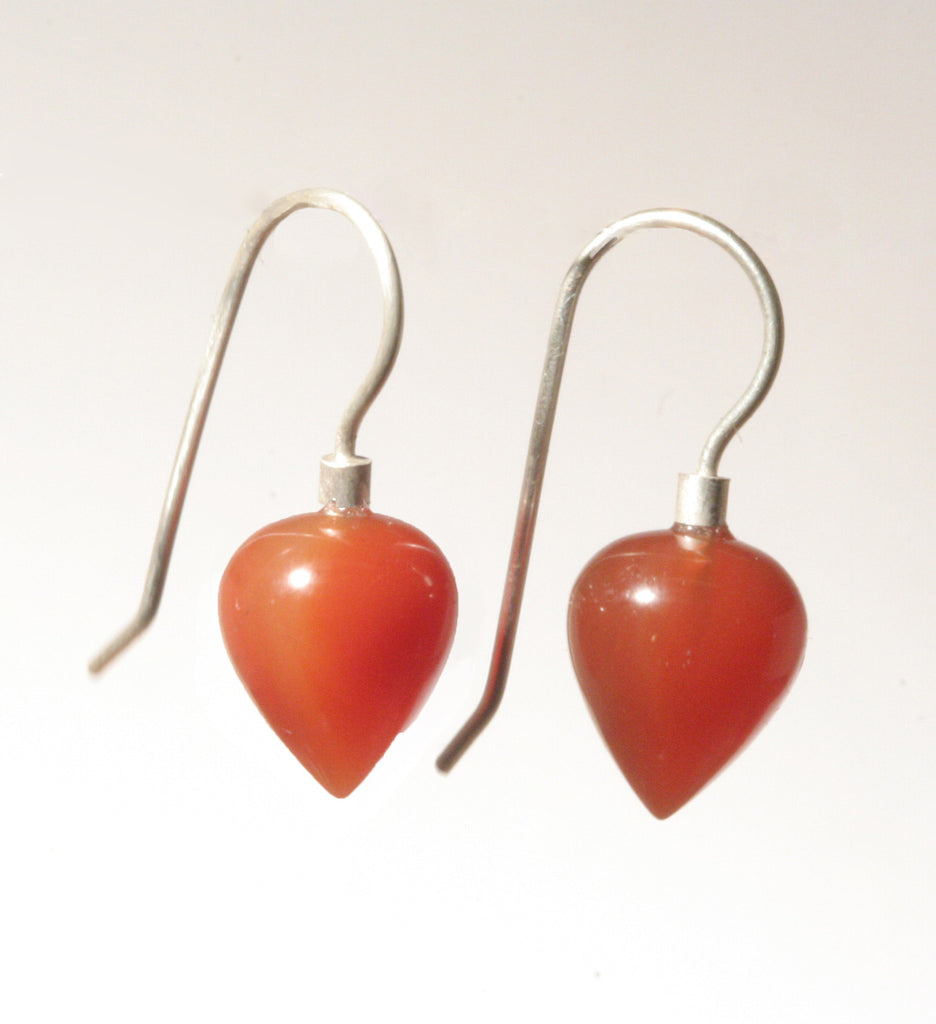 Carnelian Small Rounded Drop Earrings