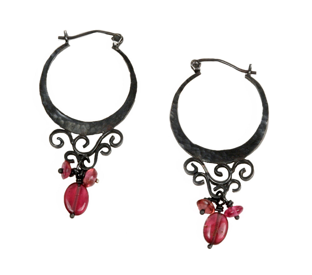 FIligree Hoops with Tourmaline