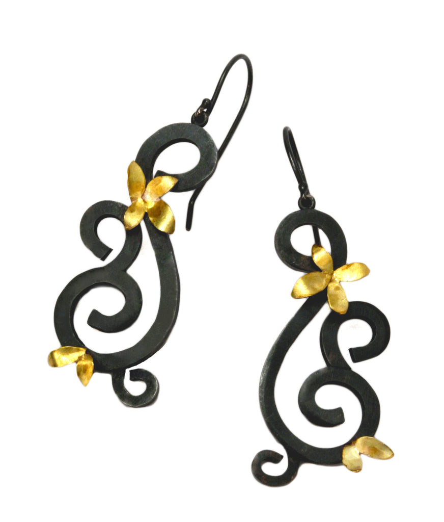 Wrought Earrings with Flowers