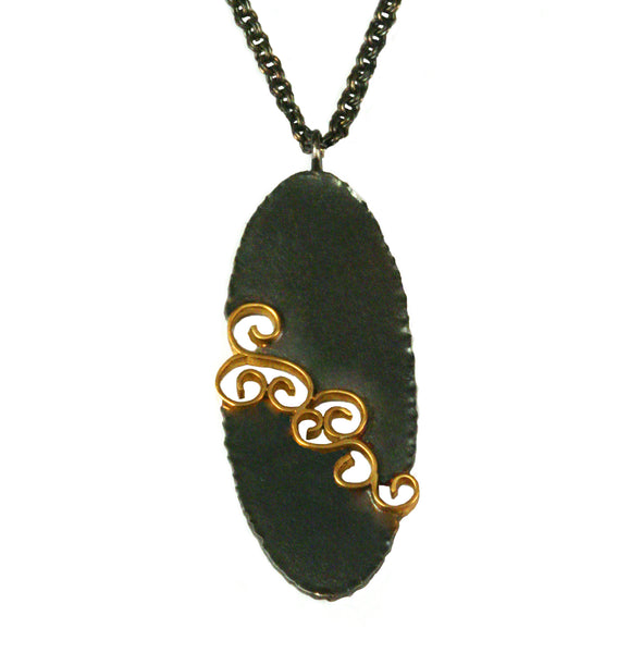Oval Gold Inlay Pendant