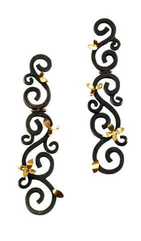 Wrought Hinged Earring with Flowers