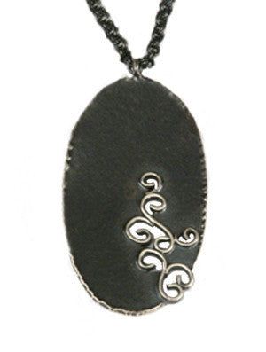 Wrought Inlay Oval Pendant