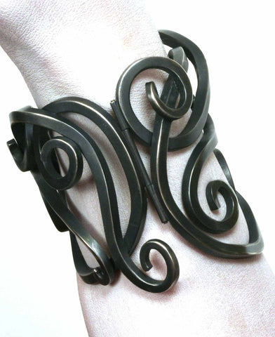 Wrought iron inspired silver cuff bracelet