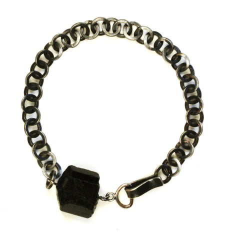Rough Black Tourmaline silver link bracelet for men