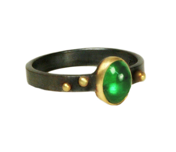 Tsavorite Dotted Ring size 6 1/2