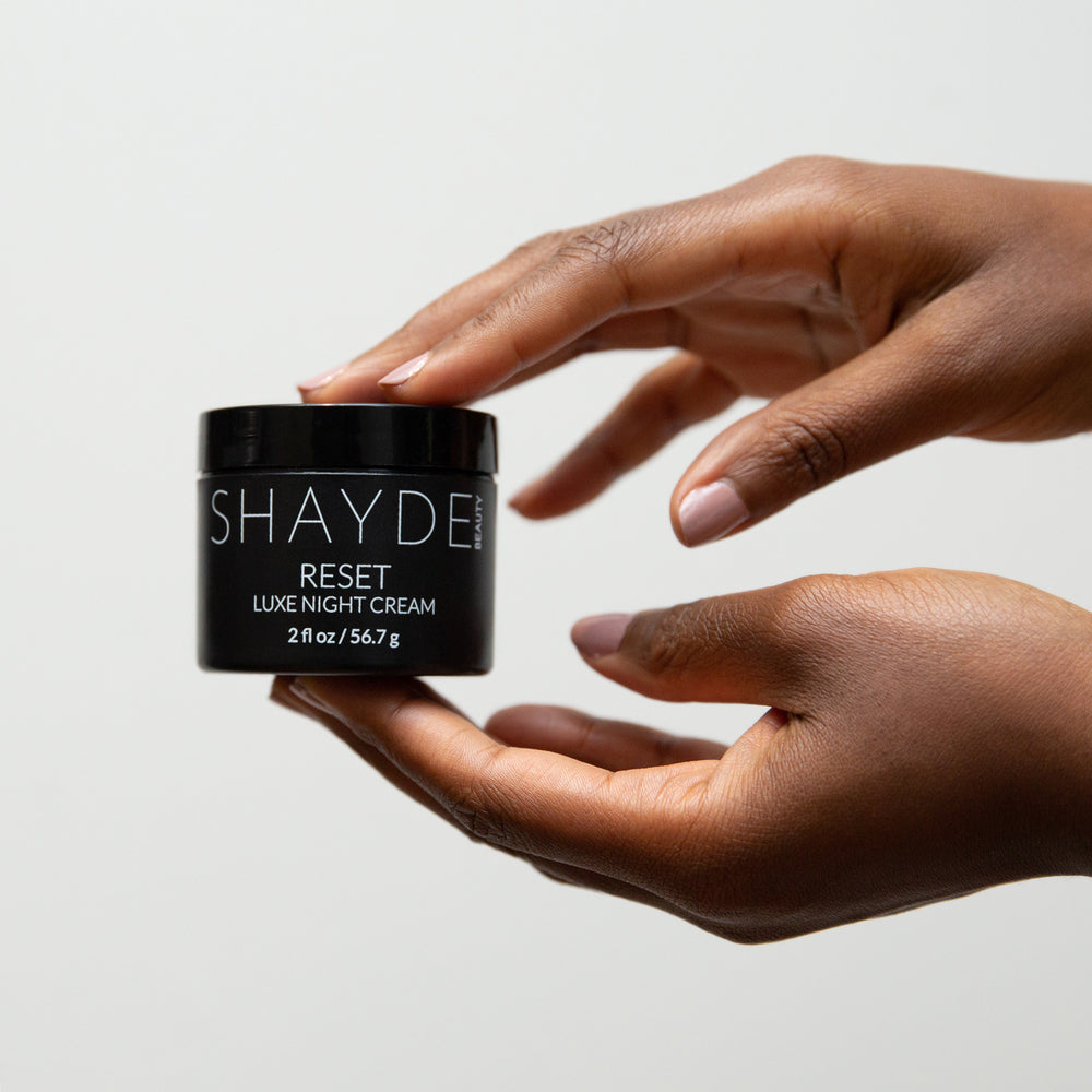 Luxe Night Cream - Shayde Beauty- This skin brightening night cream firms and visibly boosts an even skin tone. This antioxidant rich formula contains power ingredients such as Niacinamide, Lemon Extract, Rosemary Leaf, Chamomile, and AHAs to help boost the skin's collagen production and cell turnover.