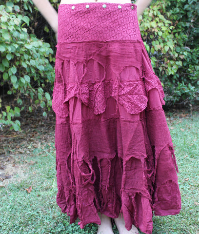 Rose Long Tattered Faerie Skirt