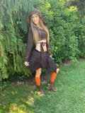 Brown & Orange Faerie Wrap Hood