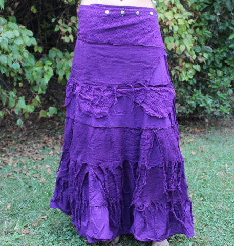 Lavender Long Tattered Faerie Skirt