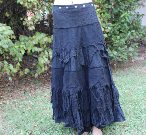 Black Tulip Long Tattered Faerie Skirt