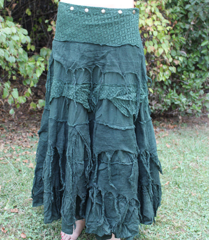 Green Long Tattered Faerie Skirt