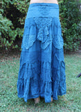 Blue Long Tattered Faerie Skirt