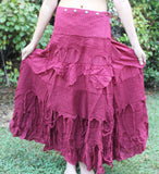 Maroon Long Tattered Faerie Skirt