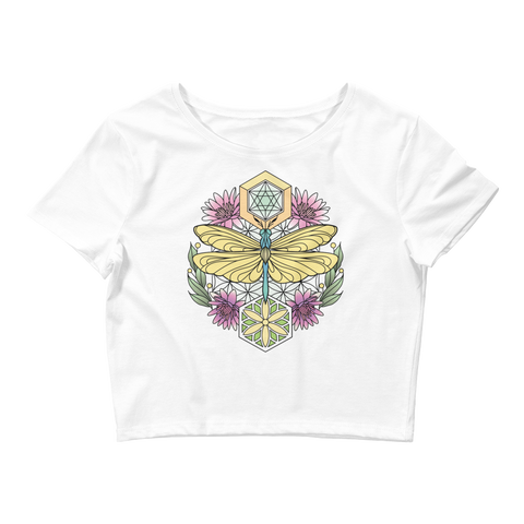 V5 Sacred Dragonfly Crop Top (Hemmed Bottom) Featuring Original Artwork By Abby Muench