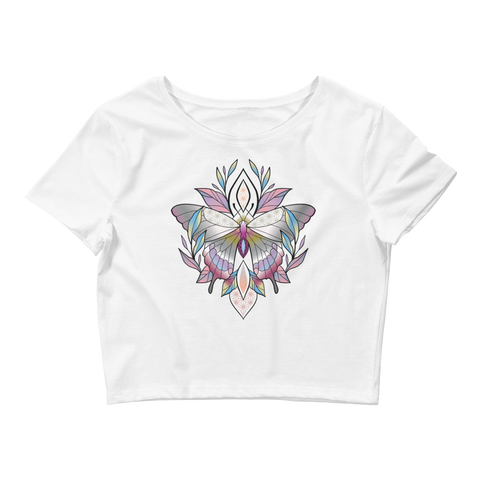 V4 Sacred Butterfly Crop Top (Hemmed Bottom) Featuring Original Artwork By Abby Muench