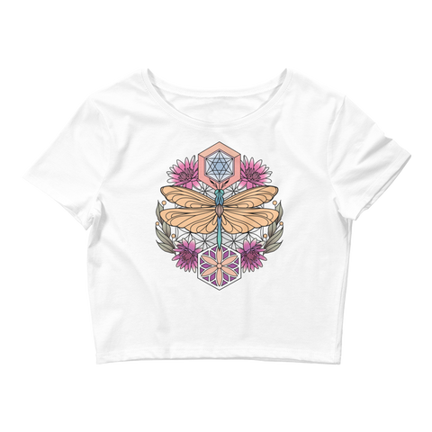 V3 Sacred Dragonfly Crop Top (Hemmed Bottom) Featuring Original Artwork By Abby Muench
