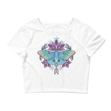 V2 Sacred Lunar Moth Crop Top (Hemmed Bottom) Featuring Original Artwork by Abby Muench