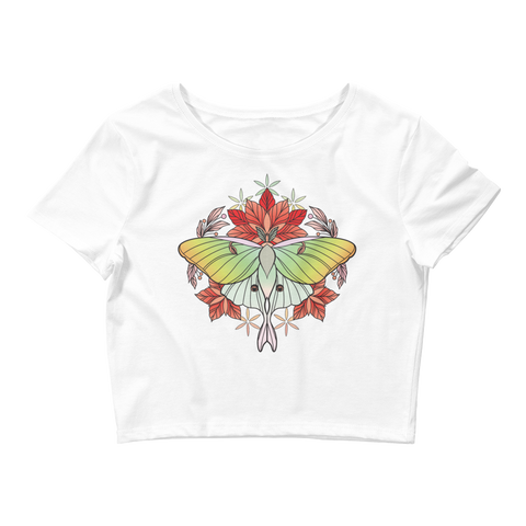 V5 Sacred Lunar Moth Crop Top (Hemmed Bottom) Featuring Original Artwork by Abby Muench