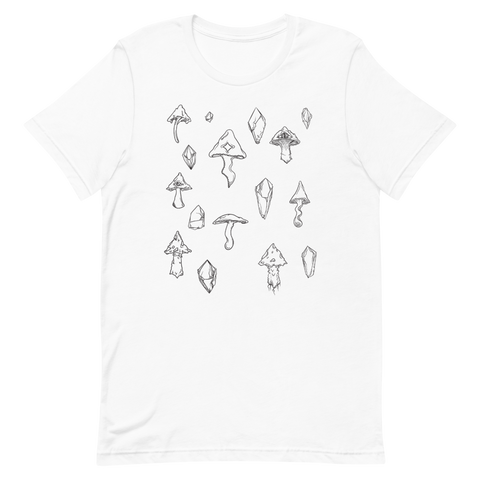 B&W Mushroom Unisex T-Shirt Featuring Original Artwork by Intothavoid