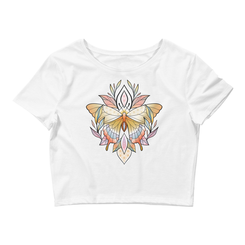 V1 Sacred Butterfly Crop Top (Hemmed bottom) Featuring Original Artwork By Abby Muench