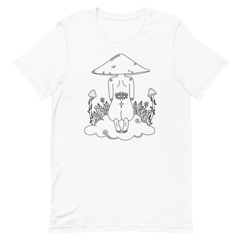 B&W Mushroom Dreamer Unisex T-Shirt Featuring original artwork by Kozmic Art