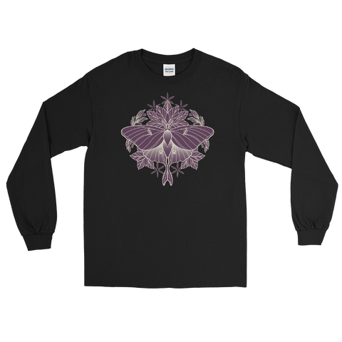 V7 Sacred Lunar Moth Unisex Long Sleeve Featuring Original Artwork by Abby Muench