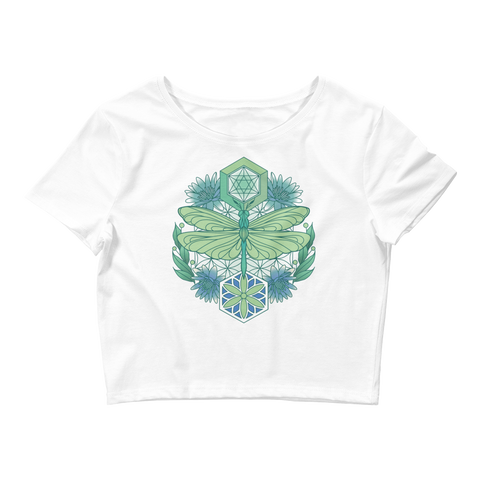 V6 Sacred Dragonfly Crop Top (Hemmed Bottom) Featuring Original Artwork By Abby Muench