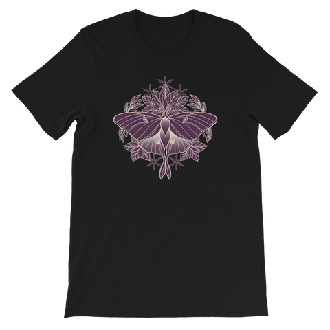 V7 Sacred Lunar Moth Unisex T-Shirt Sleeve Featuring Original Artwork by Abby Muench