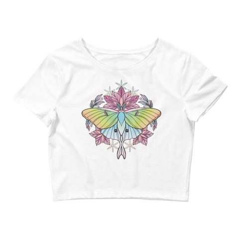 V3 Sacred Lunar Moth Crop Top (Hemmed Bottom) Featuring Original Artwork by Abby Muench